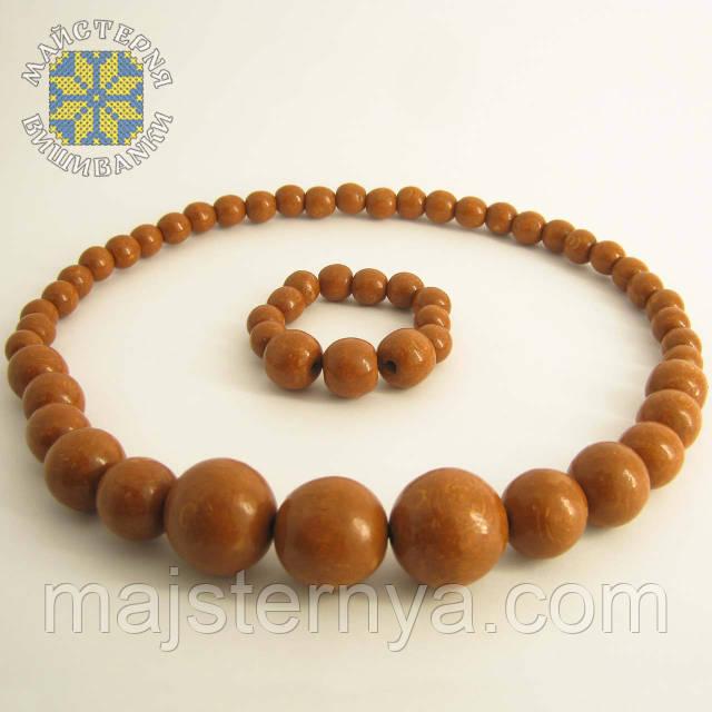 Купити намисто з браслетом карамельного кольору
