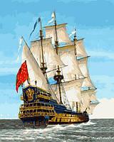 Картины по номерам 40×50 см. Линейный корабль Сирена Франция XVIII век, фото 1
