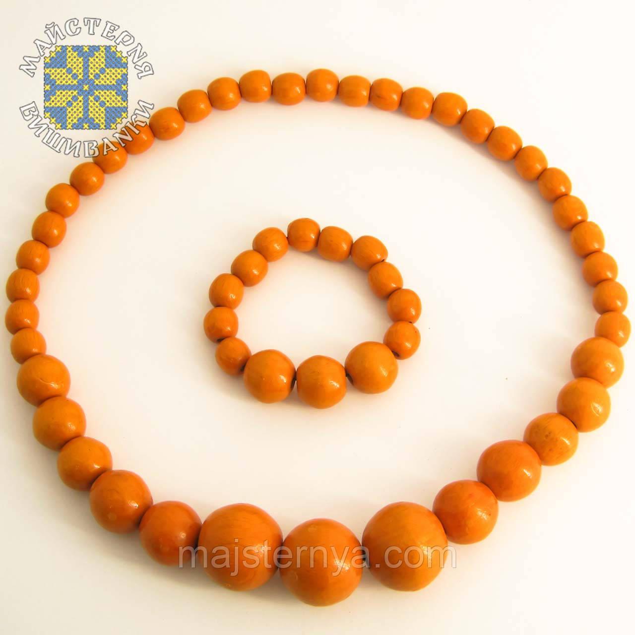 Дерев'яна яні бусі з браслетом із намистин розміром від 11мм до 26 мм помаранчевий