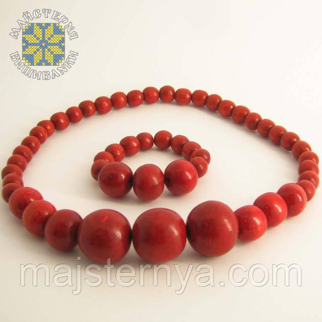 Купити намисто з браслетом червоного кольору