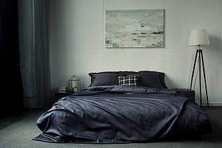 Элитное постельное белье сатин однотонный DARK GREY, №240 (Полуторный)