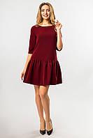 Бордовое платье с оборкой по низу
