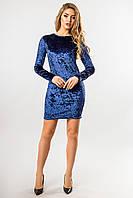 Синее платье из велюра