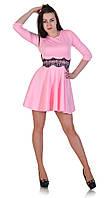Платье с гипюром на талии светло-розовое, фото 1