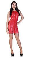Платье со вставками кожи красное, фото 1