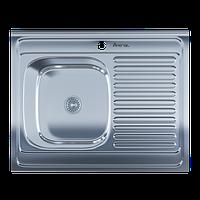 Мойка для кухни накладная 6080L Polish 0.6 мм