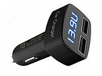Товар имеет дефект Автомобильное зарядное устройство USB  4 в 1  с вольтметром, амперметром и t F Уценка №290 Уцінка! синє підсвічування