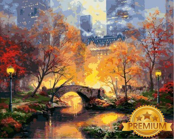 Картины по номерам 40×50 см. Babylon Premium (цветной холст + лак) Центральный парк осенью Художник Томас Кинкейд