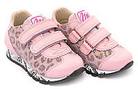 """Кроссовки для девочки детские на липучках """"Леопардовые вставки"""" """"Minimen"""", розовый, 21(21-25), 21"""
