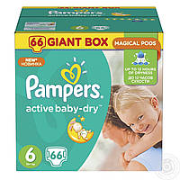 """Подгузники для детей """"Pampers active baby-dry"""" GIGANT BOX 6  (66 шт) 15+ кг."""