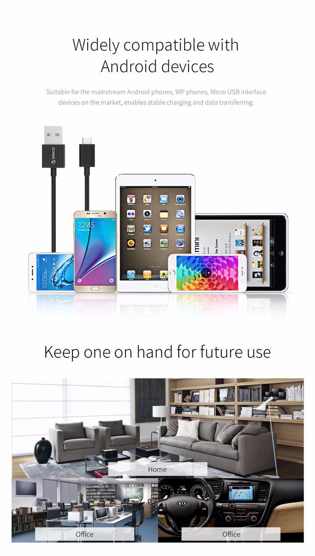 Кабель Micro USB Orico FDC-10 для зарядки и передачи данных (Розовый, 1м) Совместимость с андройд устройствами