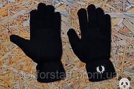 Модные черные перчатки фред пери,fred perry