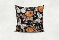 """Подарочная подушка """"Бабочки и цветы на чёрном"""""""