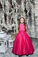 Детское нарядное платье малинового цвета атласное в пол, фото 1