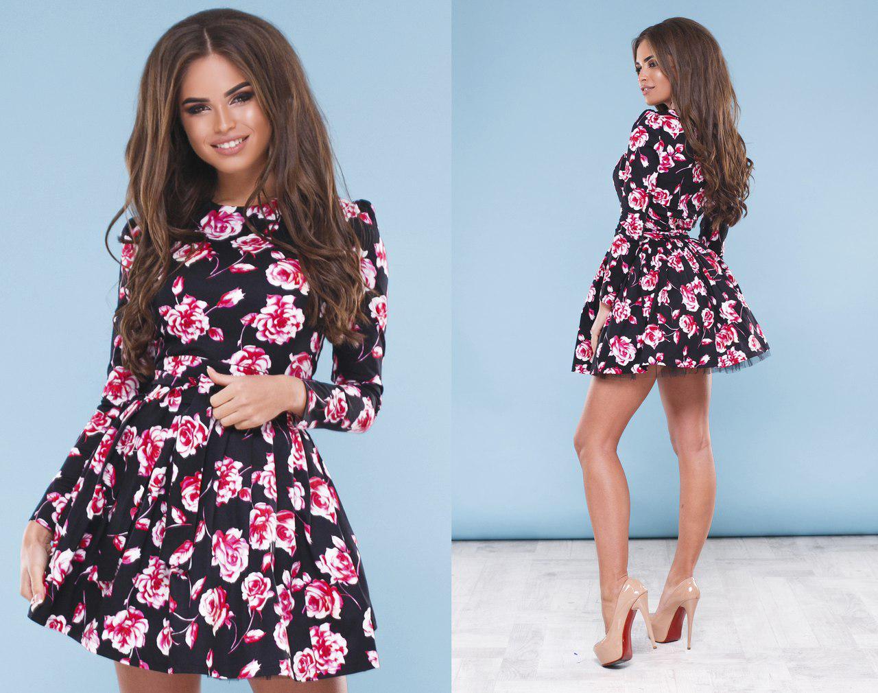 """Коктейльное платье """" Вивьен""""  с пышной юбкой, принтованный джинс  код 93/8751"""