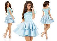 Женское нарядное пышное платье с сеткой вышивкой, цвет голубое
