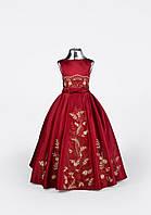 Детское нарядное атласное платье цвета марсала