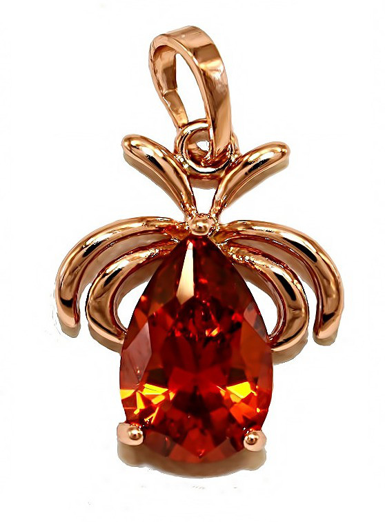 Кулон фирмы ХР. Цвет: позолота с кр.от. Камни: красно-оранжевый циркон. Высота кулона: 2,3 см. Ширина: 15 мм.