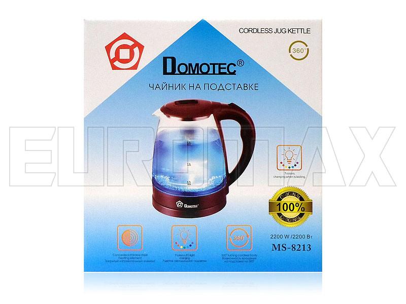 Электрочайник стеклянный 2,2л 2200Вт Domotec бордовый MS-8213