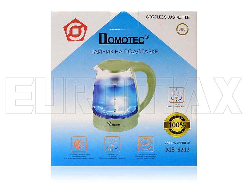 Электрочайник стеклянный 2,2л 2200Вт Domotec светло-зеленый MS-8212