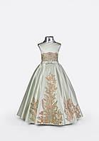 Детское нарядное платье оливкового цвета