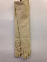 Harmon женские длинные кожаные перчатки бежевые