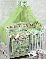 """Комплект постели в детскую кроватку из 8-ед """"Поцелуйчики"""" салатового цвета, № 156"""