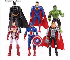 Набор Марвел Супергерои 6 шт. Мстители Бетмен Халк Супермен Тор Кап. Америка Железный человек