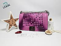 Женская сумка ChanelBoyHandbag через плечо, люкс копия сиренево-розовая