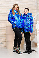 Куртка детская для девочки Лорен электрик плащевка металлик весна съемныйкапюшон 128,134,140,146,152,158,164см