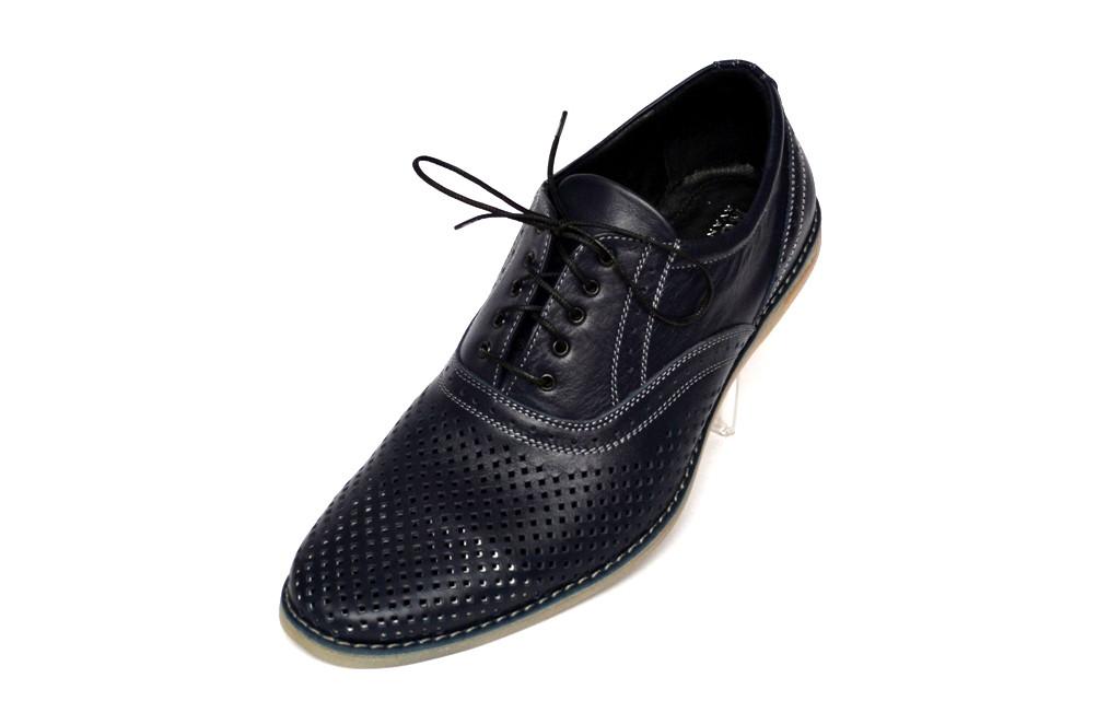 Летние темно синие туфли мужские кожаные с перфорацией Rosso Avangard Felicete Persona Navy Blu Perf