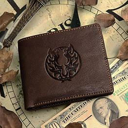 Мужской кожаный кошелек из натуральной кожи(В наличии коричневый)