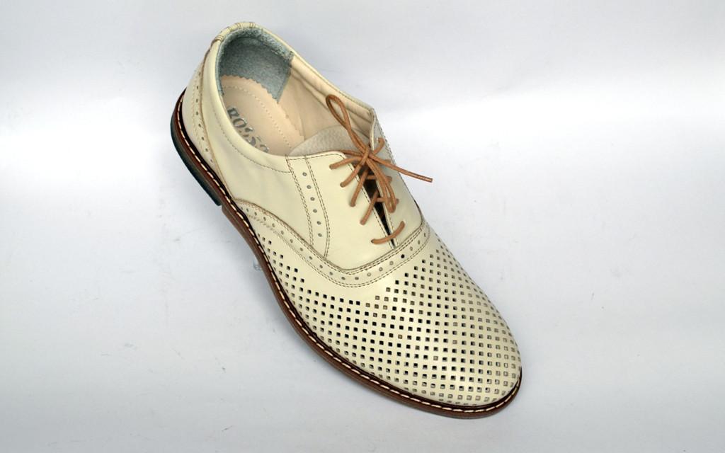 Мужская обувь больших размеров летняя туфли бежевые кожаные Rosso Avangard Felicete Persona White Perf