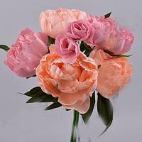 Букет Пионов вязка  6шт. пудрово -персиковый 25 см Цветы искусственные