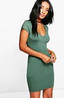 Платье цвета Хаки, Стильное На каждый День, бренд Boohoo оригинал, размер S