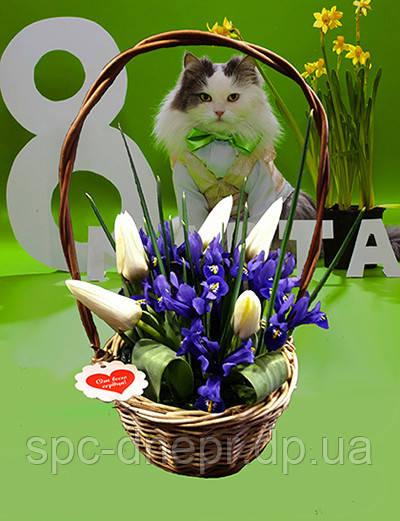 Тюльпаны,нарциссы,крокусы в корзинках