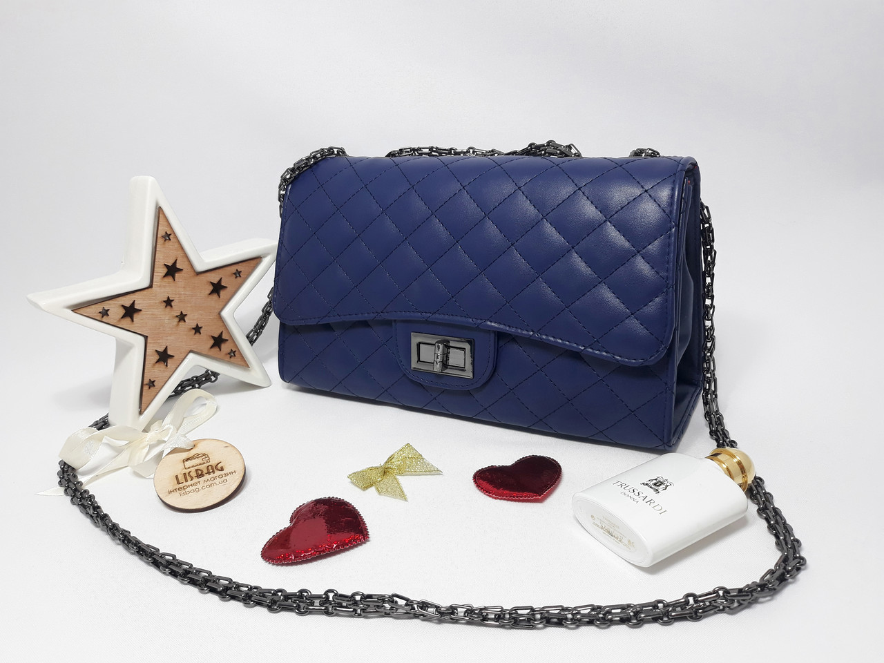 6b688e51e507 Женская сумка через плечо, люкс копия темно-синяя - Интернет магазин Lisbag  в Умани