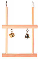 Качели для попугая деревянные двойные с колокольчиками 12*20см, Trixie