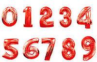 Красные фольгированные цифры 0-9, размер 88 см.