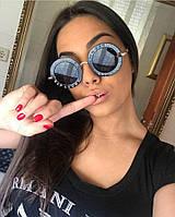 Очки круглые женские солнцезащитные Gucci 1828 черные