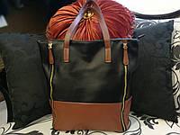 Черная женская сумка с коричневыми вставками, фото 1