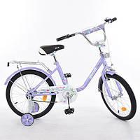 """Двухколесный велосипед Profi L1883 Flower, 18"""" Фиолетовый, с приставными колесиками"""
