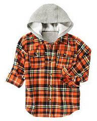 Рубашка фланелевая с капюшоном на флисе   Crazy8 (США)  (Размер S (5-6 лет)