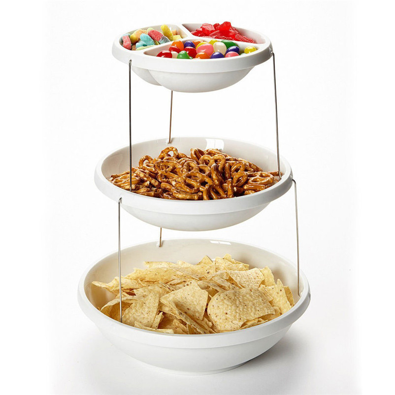 Стойка фуршетная из трех складных скручивающихся тарелок Twistfold Party Bowls 3