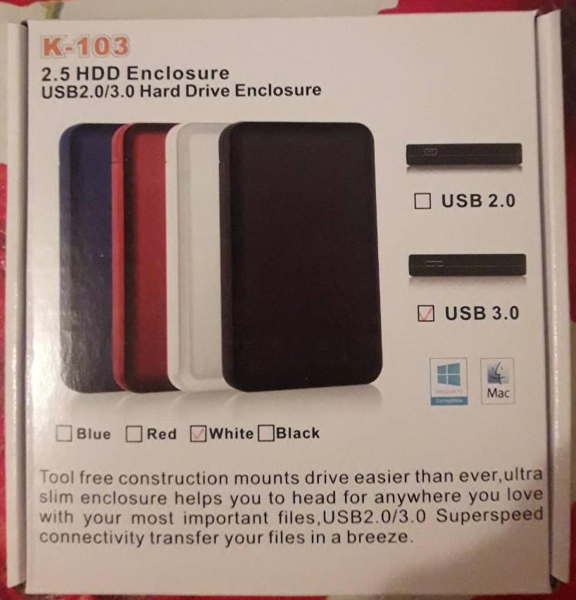 """Зовнішня кишеня для жорсткого диска HDD 2.5"""" USB 3.0/2.0"""