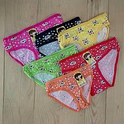 Детские трусики на девочку Girls с рисунком цветное ассорти 12 шт упаковка размеры  L-M-S  ТДП-287
