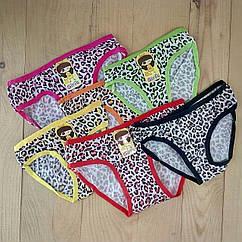 Детские трусики на девочку Girls леопардовые цветное ассорти 12 шт упаковка размеры  L-M-S  ТДП-288