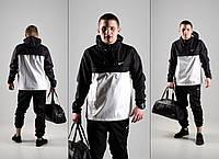 Мужской спортивный костюм! Анорак + Штаны + Подарок! черный+белый