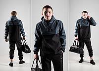 Мужской спортивный костюм! Анорак + Штаны + Подарок! черный+серый