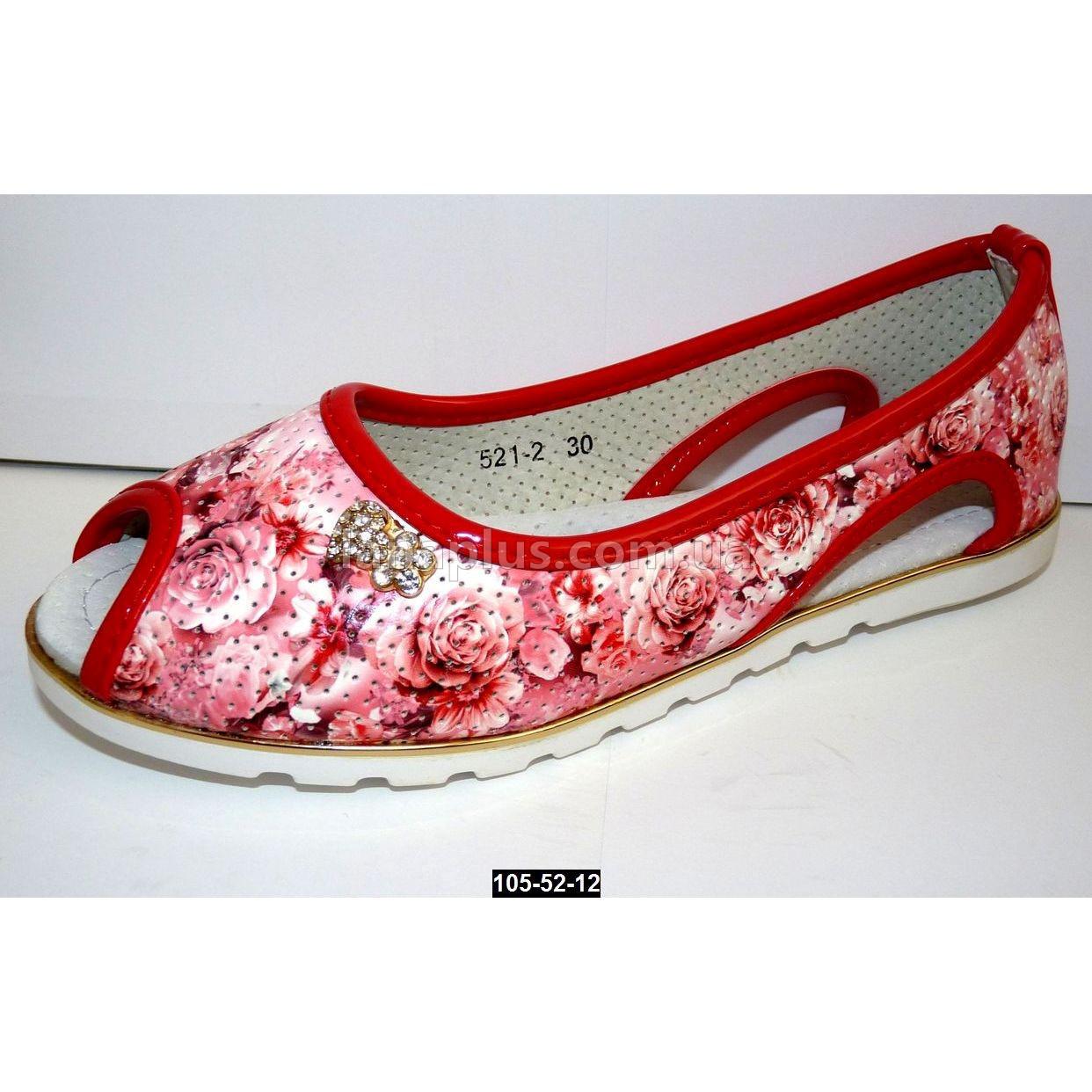 Летние туфли для девочки, 30-37 размер, кожаная стелька, супинатор